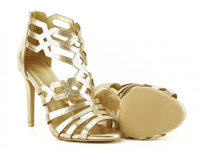 Sandale aurii elegante cu toc inalt Serena 3