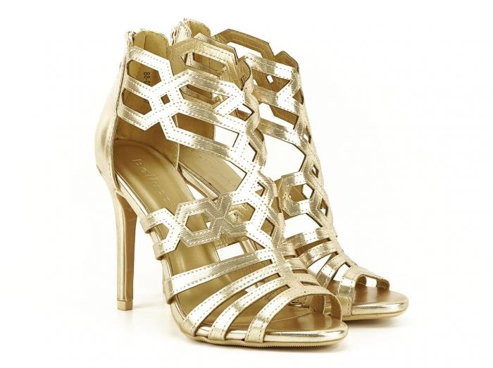 Sandale aurii elegante cu toc inalt Serena 2