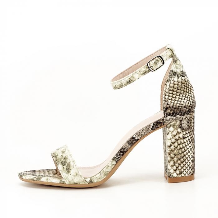 Sandale bej cu imprimeu reptila Leila [0]