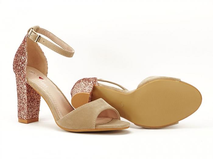 Sandale bej cu sclipici pe toc Amanda 6