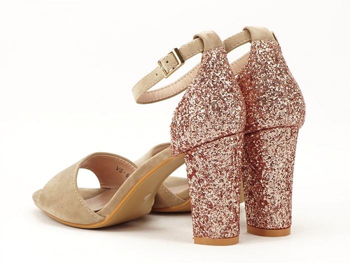 Sandale bej cu sclipici pe toc Amanda 1