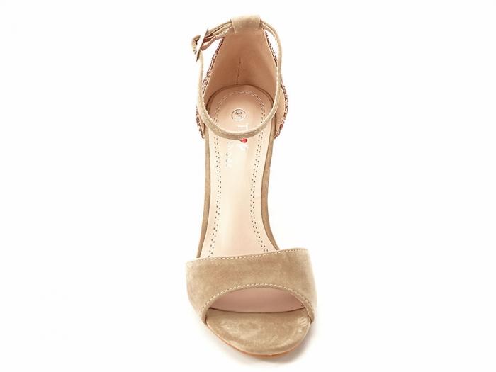Sandale bej cu sclipici pe toc Amanda 3