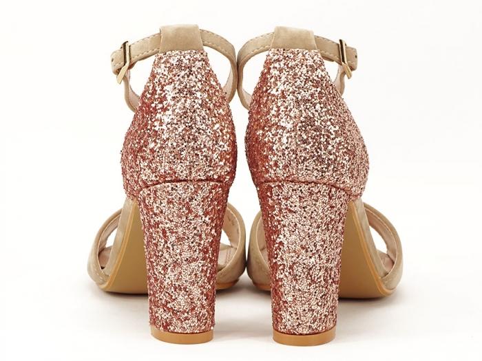 Sandale bej cu sclipici pe toc Amanda 4