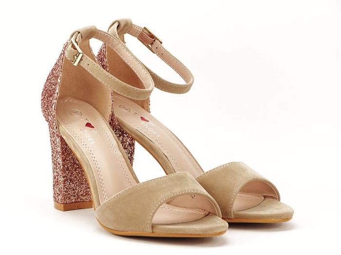 Sandale bej cu sclipici pe toc Amanda 5