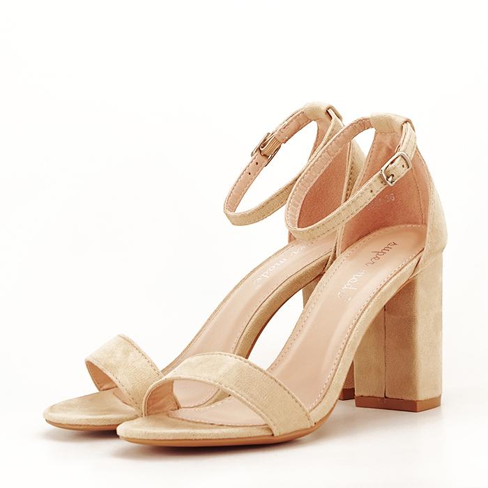 Sandale bej cu toc inalt Flavia 0