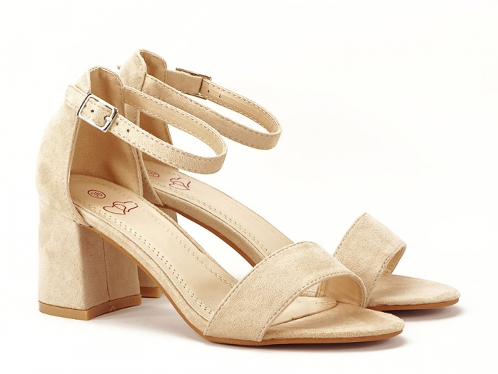 Sandale bej cu toc mic Sevilia