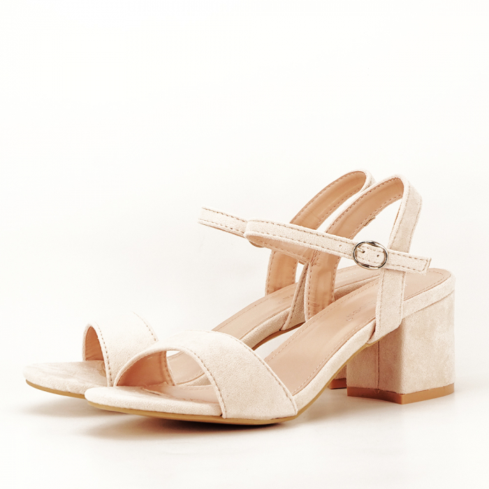 Sandale bej cu toc mic Vanesa 1