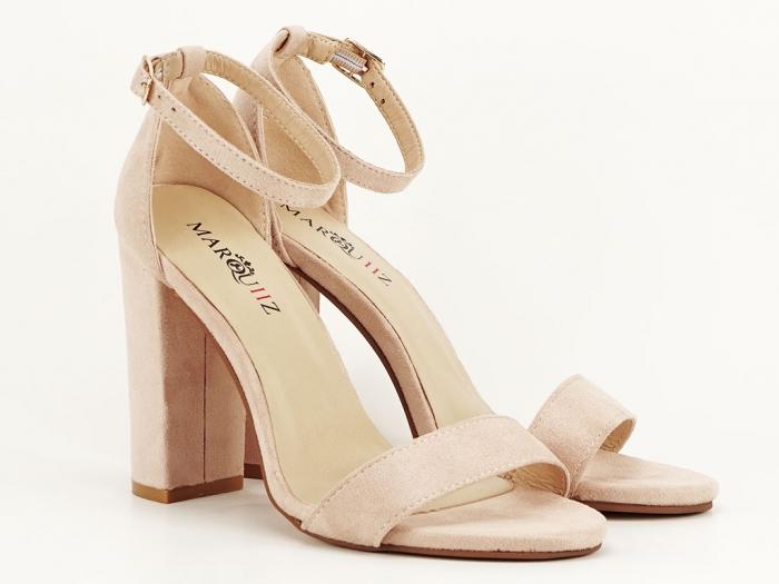 Sandale dama bej cu toc gros Mathilde 0