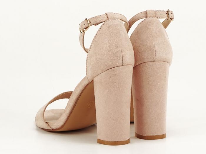 Sandale dama bej cu toc gros Mathilde 5