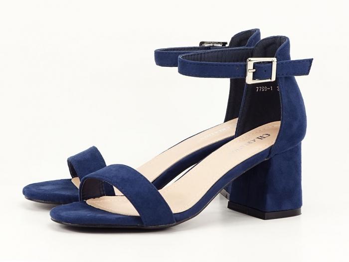 Sandale bleumarin din velur cu toc mic Marcela 6