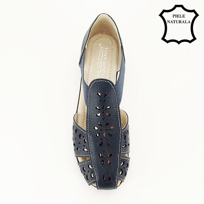 Sandale bleumarin din piele naturala Ozana 2