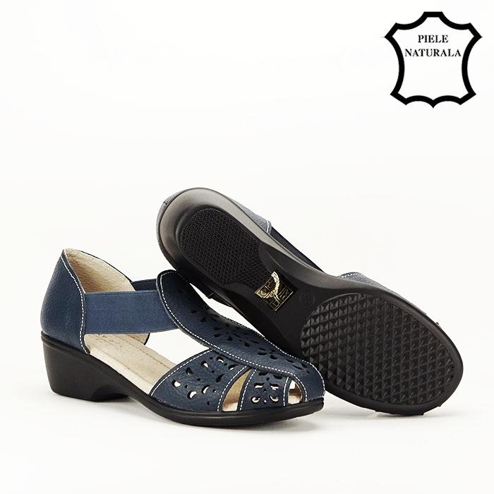 Sandale bleumarin din piele naturala Ozana 4