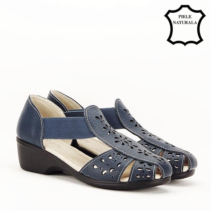 Sandale bleumarin din piele naturala Ozana 3