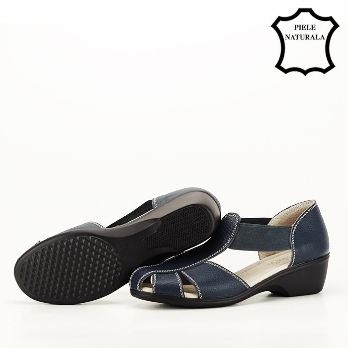 Sandale bleumarin din piele naturala Calypso [5]