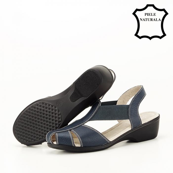 Sandale bleumarin din piele naturala Codruta 5