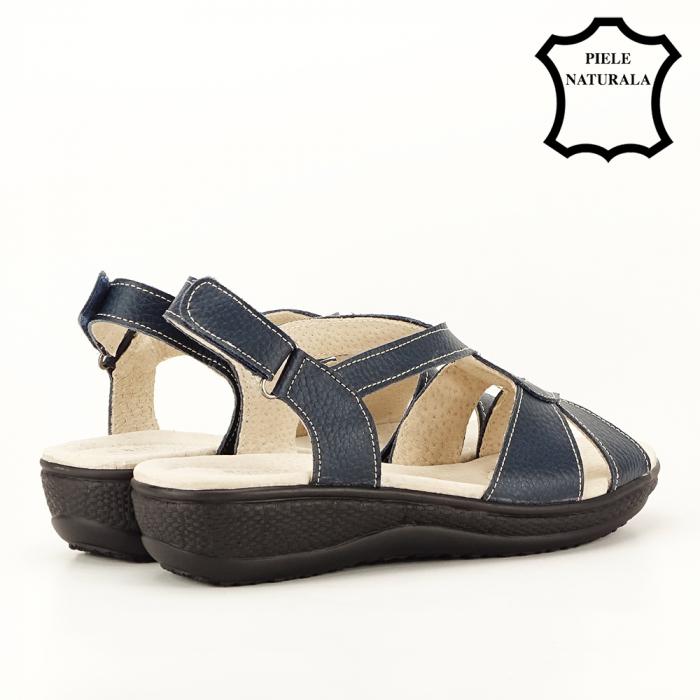 Sandale bleumarin din piele naturala Mabel [3]