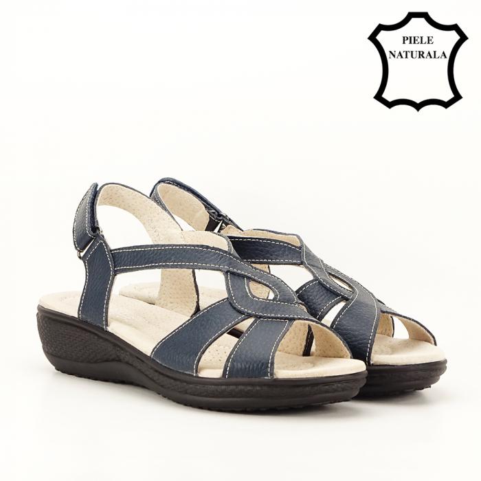 Sandale bleumarin din piele naturala Mabel [4]