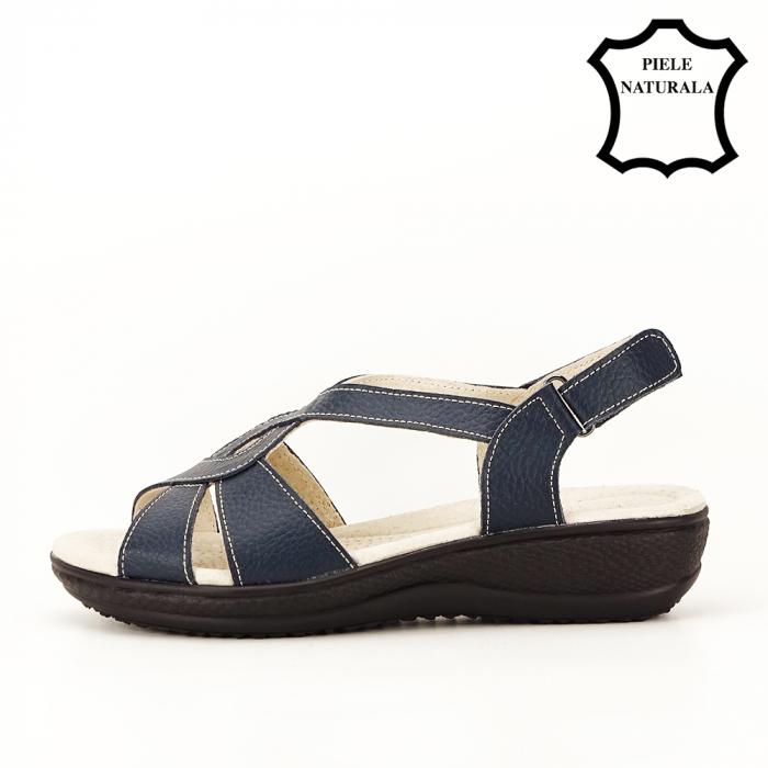 Sandale bleumarin din piele naturala Mabel [2]