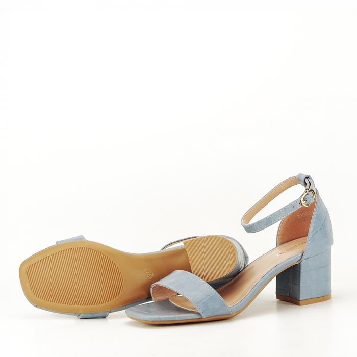 Sandale albastre cu toc gros Bella 4