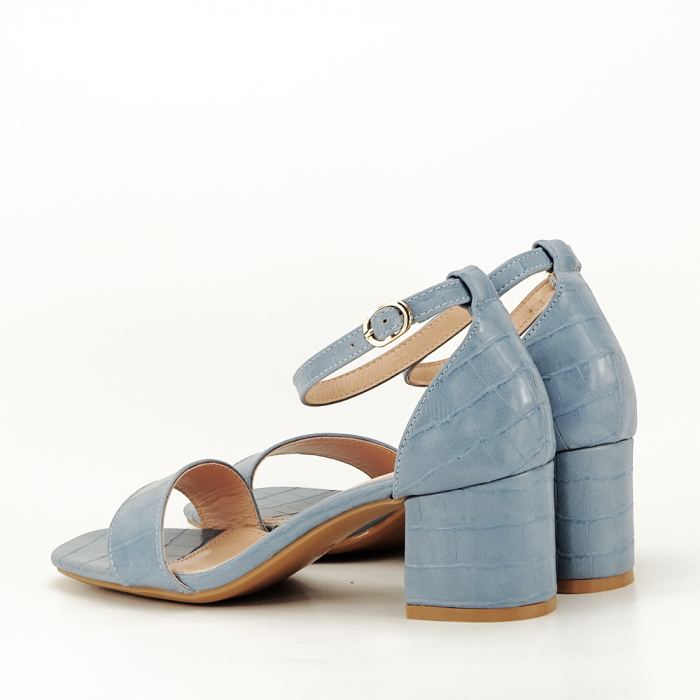 Sandale albastre cu toc gros Bella 5