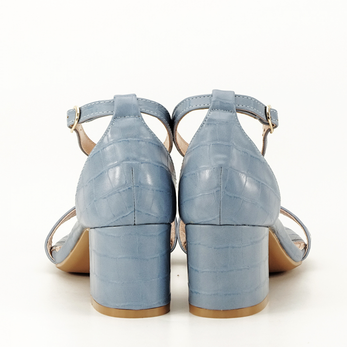 Sandale albastre cu toc gros Bella 7