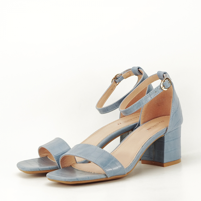 Sandale albastre cu toc gros Bella 1