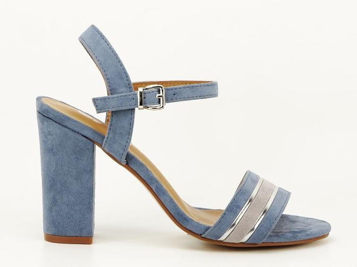 Sandale bleu cu toc gros Iris 0