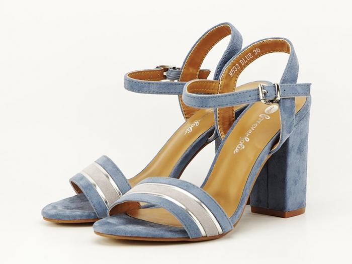 Sandale bleu cu toc gros Iris 2