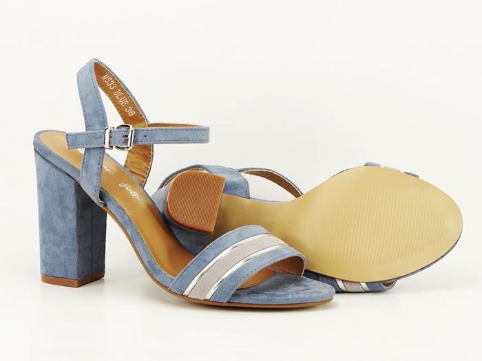 Sandale bleu cu toc gros Iris 1