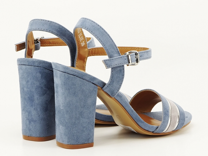 Sandale bleu cu toc gros Iris 4