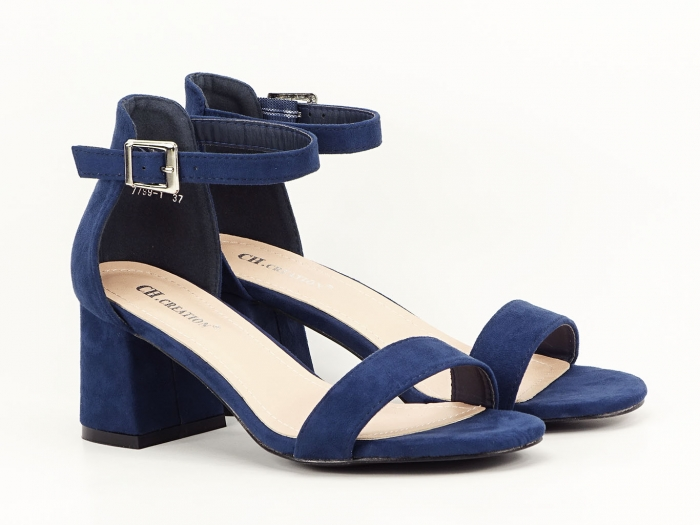Sandale bleumarin din velur cu toc mic Marcela 0