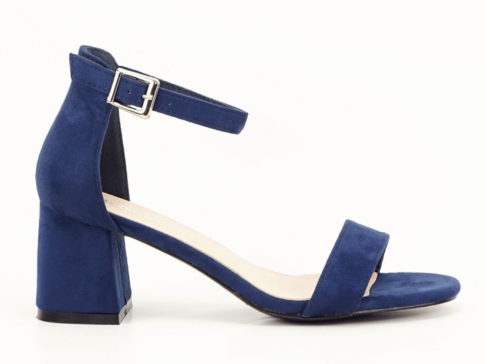 Sandale bleumarin din velur cu toc mic Marcela 1