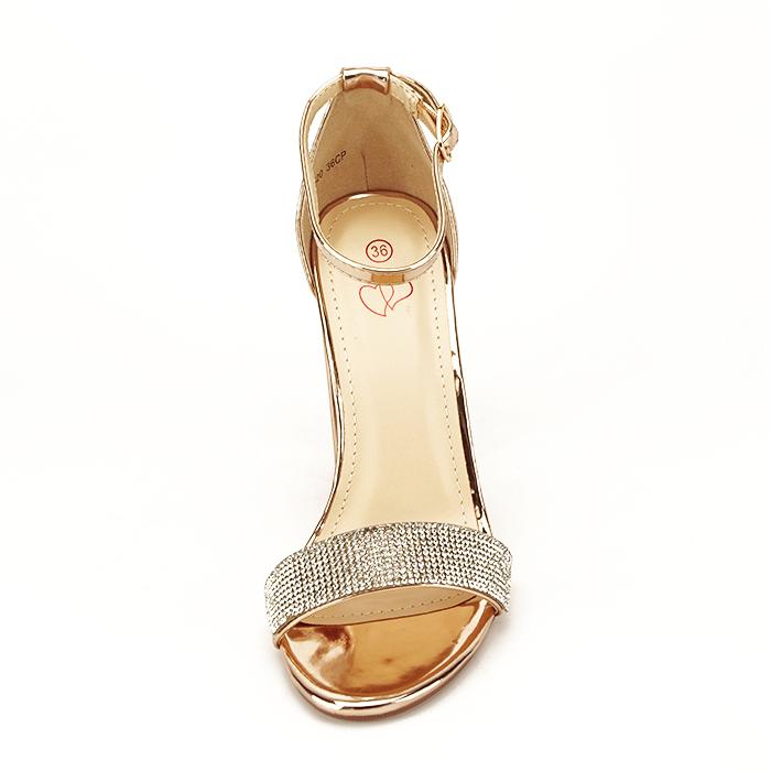 Sandale aurii cu toc gros Diana [5]