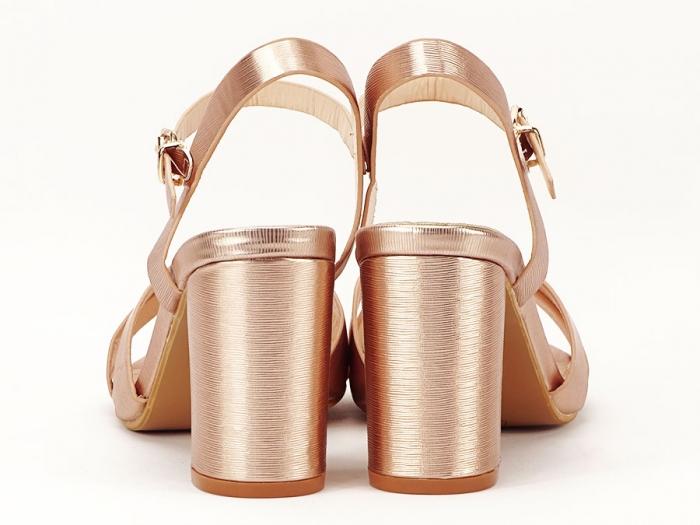 Sandale elegante champagne cu toc mediu Ada 4