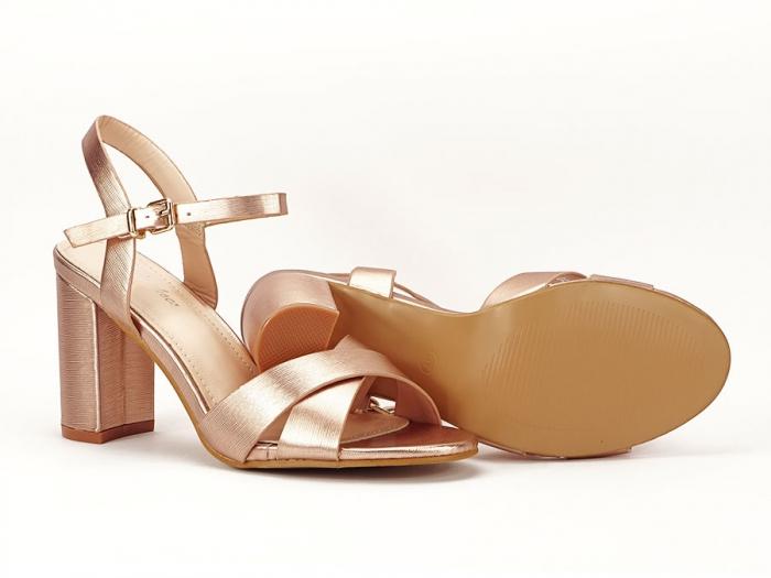 Sandale elegante champagne cu toc mediu Ada 7