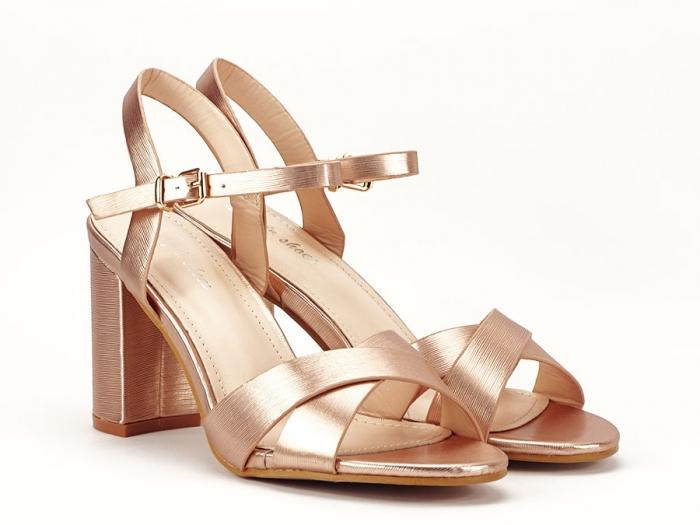 Sandale elegante champagne cu toc mediu Ada 1