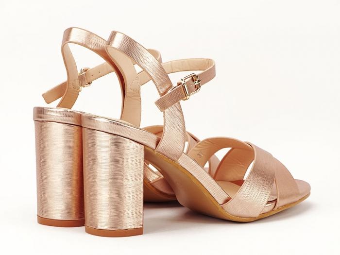 Sandale elegante champagne cu toc mediu Ada 3