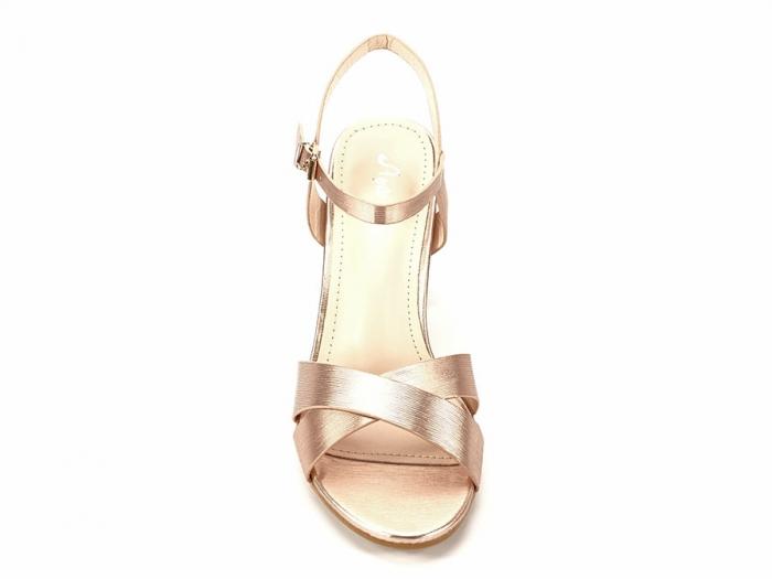 Sandale elegante champagne cu toc mediu Ada 2