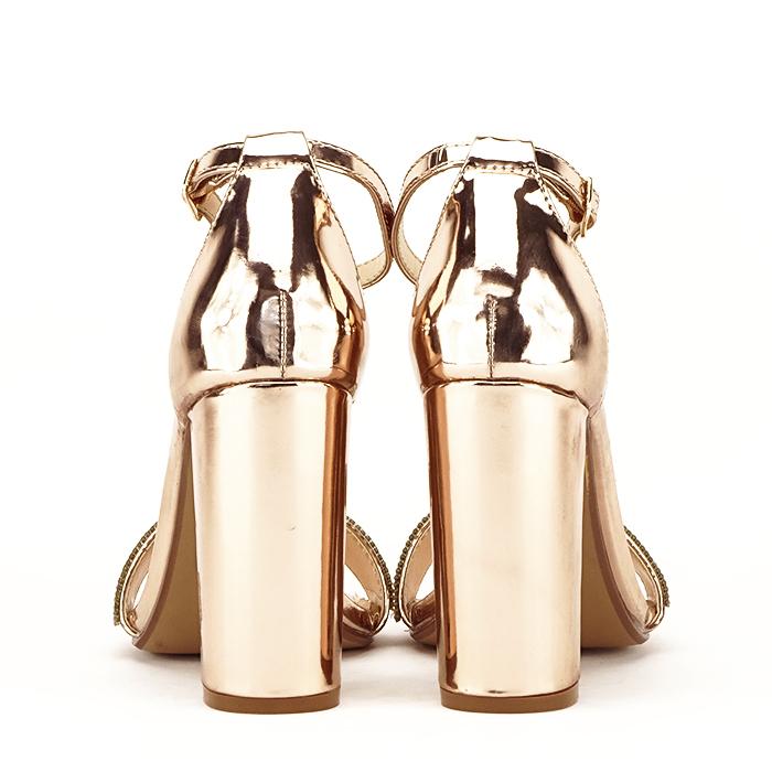 Sandale aurii cu toc gros Diana [6]