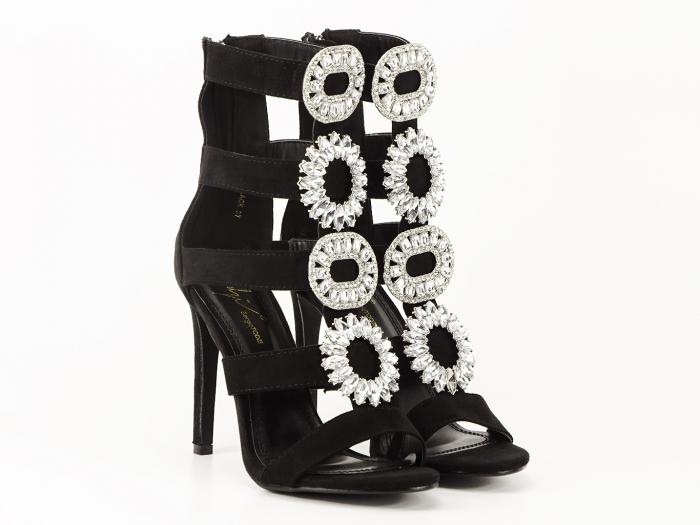 Sandale negre cu toc inalt decorate cu brosa argintie Nadia 0