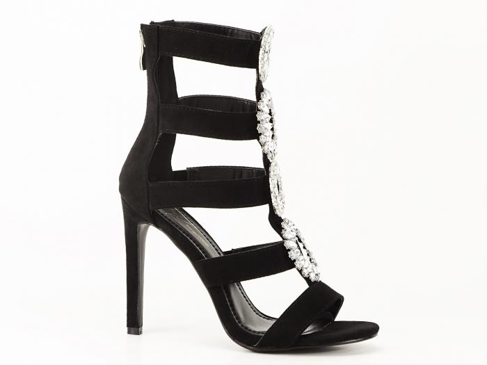 Sandale negre cu toc inalt decorate cu brosa argintie Nadia