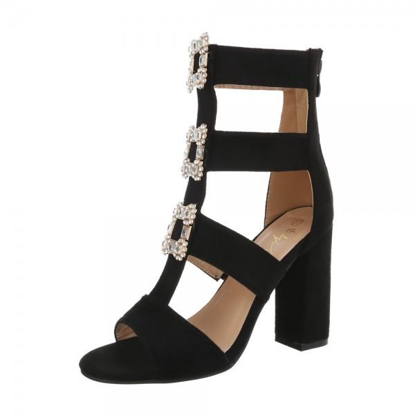 Sandale negre cu toc gros decorat cu borse Vanila 0