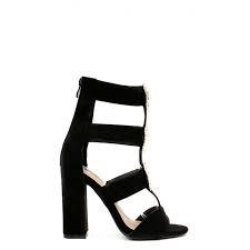 Sandale negre cu toc gros decorat cu borse Vanila 3