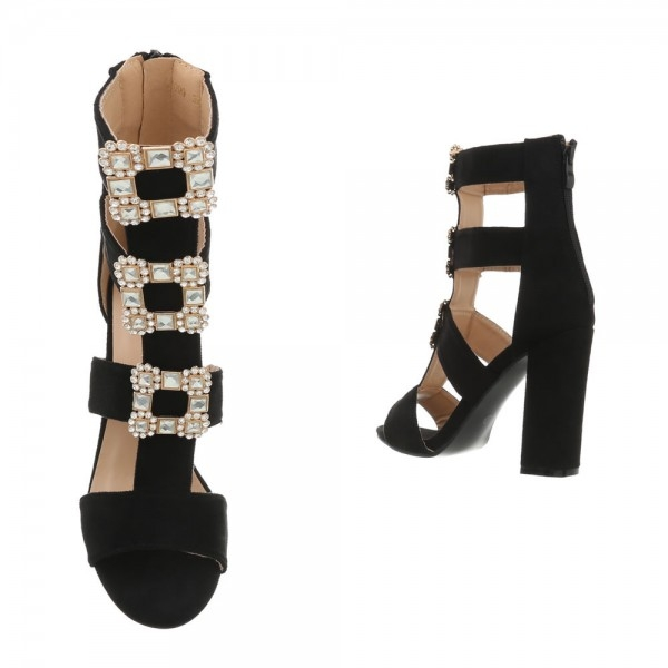 Sandale negre cu toc gros decorat cu borse Vanila 1