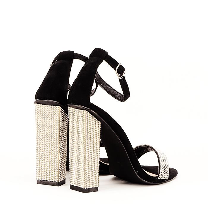 Sandale negre cu pietricele Agness 4