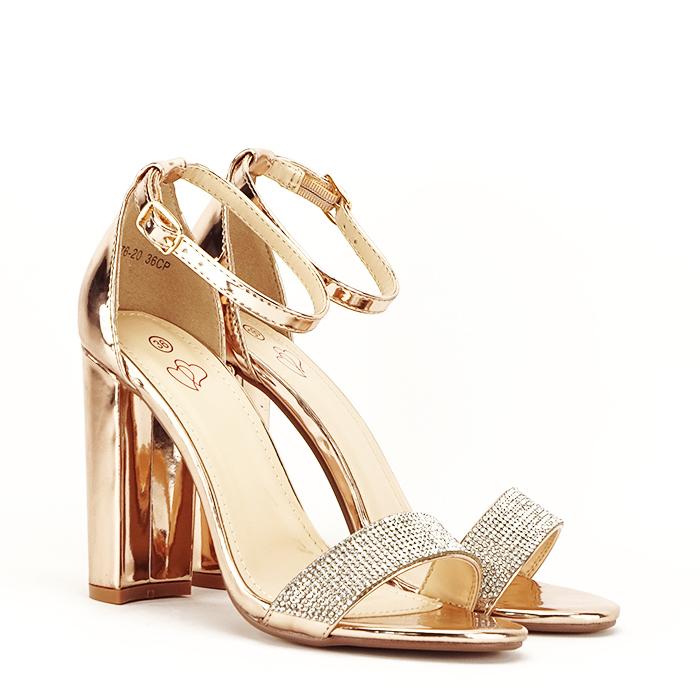 Sandale aurii cu toc gros Diana [2]