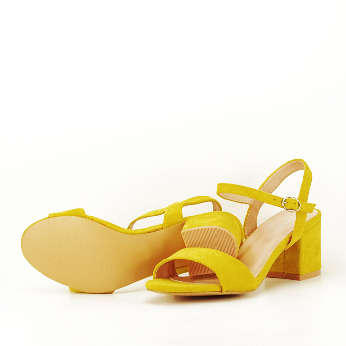 Sandale galben mustar cu toc mic Vanesa [4]