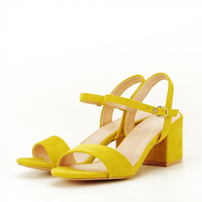 Sandale galben mustar cu toc mic Vanesa [1]