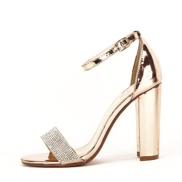 Sandale aurii cu toc gros Diana [0]