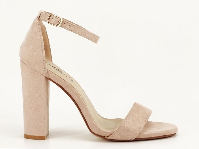 Sandale dama bej cu toc gros Mathilde 3